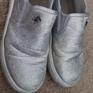 Michael kors girl silver glitter shoes size 12